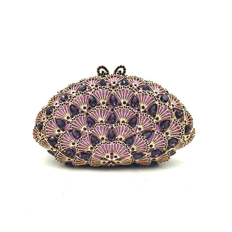 Women evening party bag diamonds clutches luxury accessories bag Nigeria bridal wedding party shell shape purses