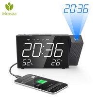 Projection LED Alarm Clock Digital FM Radio Dual Alarm Volume Snooze Time Humidity Temperature DisPlay Desktop Table Clocks