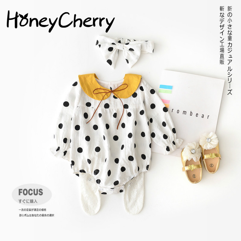 Baby Bodysuits Crawl Into The Korean Version Of New Babys Polka-dot Removable Doll Collar Butt Shirt HairbandBaby Bodysuits Crawl Into The Korean Version Of New Babys Polka-dot Removable Doll Collar Butt Shirt Hairband