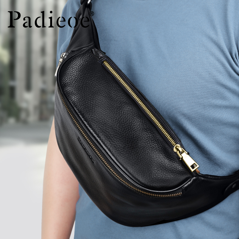 Padieoe Waist Bag Men Belt Bags Leather Pouch Mens Fanny Pack Fashion Luxury Waterproof Luxurious