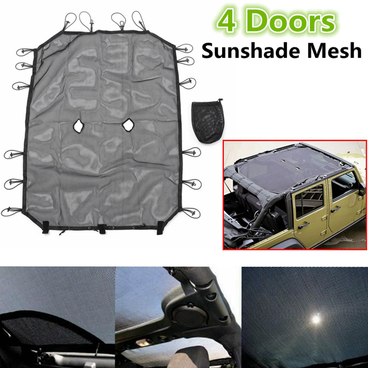Mesh Eclipse Sunshade Top Cover For Jeep Wrangler JK /& Unlimited 2//4 Door 07-18