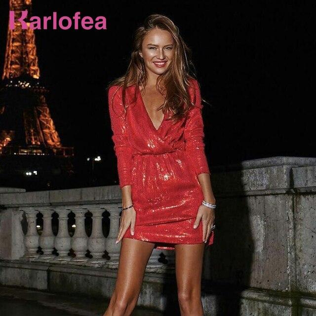 Karlofea Lovely Outfits Wear Dress Shiny Red Khaki Sexy V Neck Long Sleeve  Mini Dress Club 76b708201b57