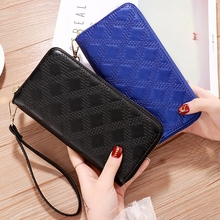 Single Zipper Bag Female Embroidered Ladies Wallet Long Clutch Bag Female Purse Multi-Card Package Tide Coin Purse