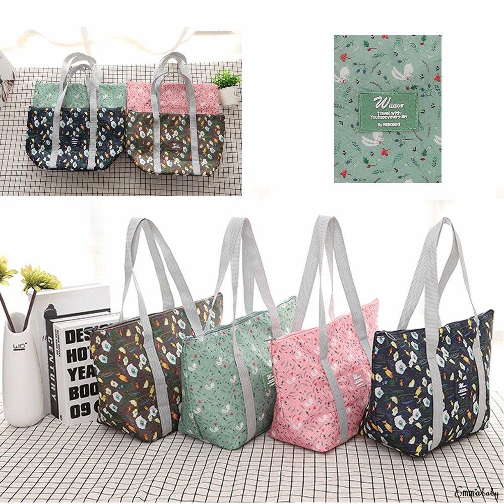 2019 New Lunch Bags Bolsa Termica Lonchera Flower Printed Collapsible Portable Waterproof Bags PVC Aluminum Bento Bag