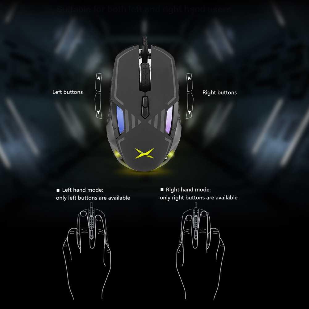 Delux M628 16000 DPI RGB Backlight USB E-Olahraga Wired Gaming Mouse untuk PC Laptop