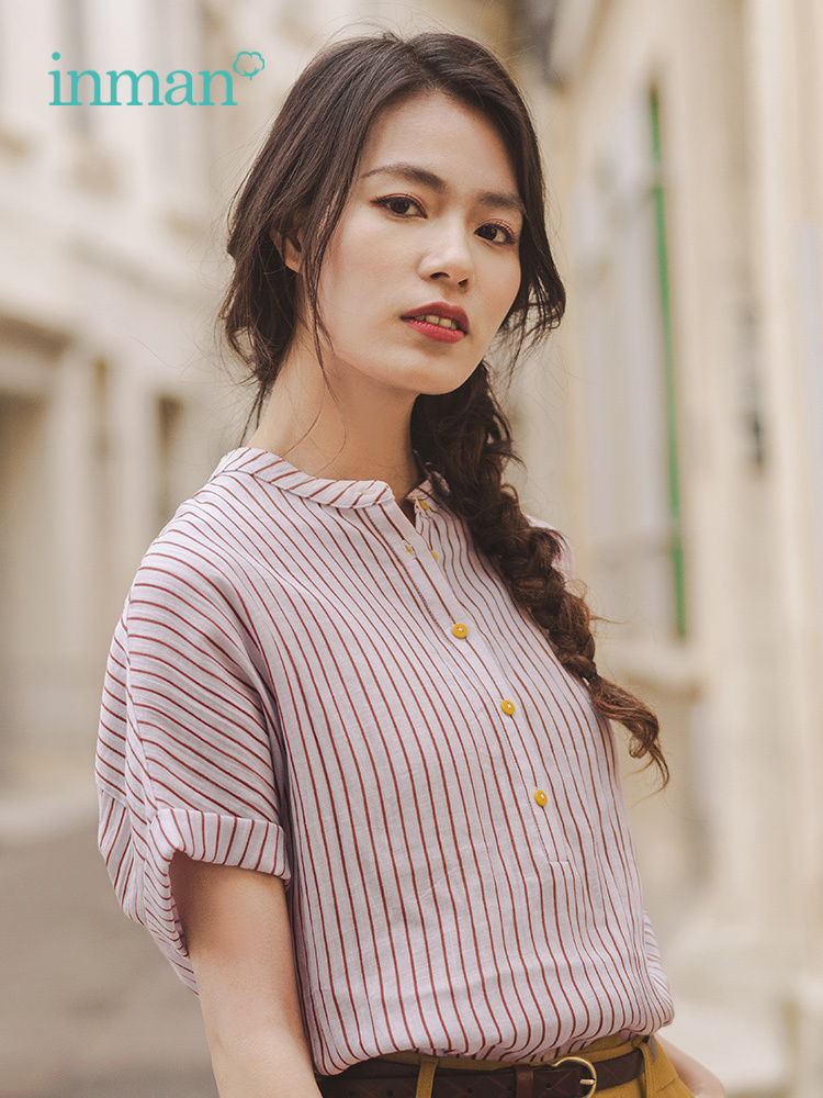 INMAN 2019 Summer New Arrival Striped Stand-up Collar Elegant Literary Office Lady Style Slim Bat Sleeve Women Blouse