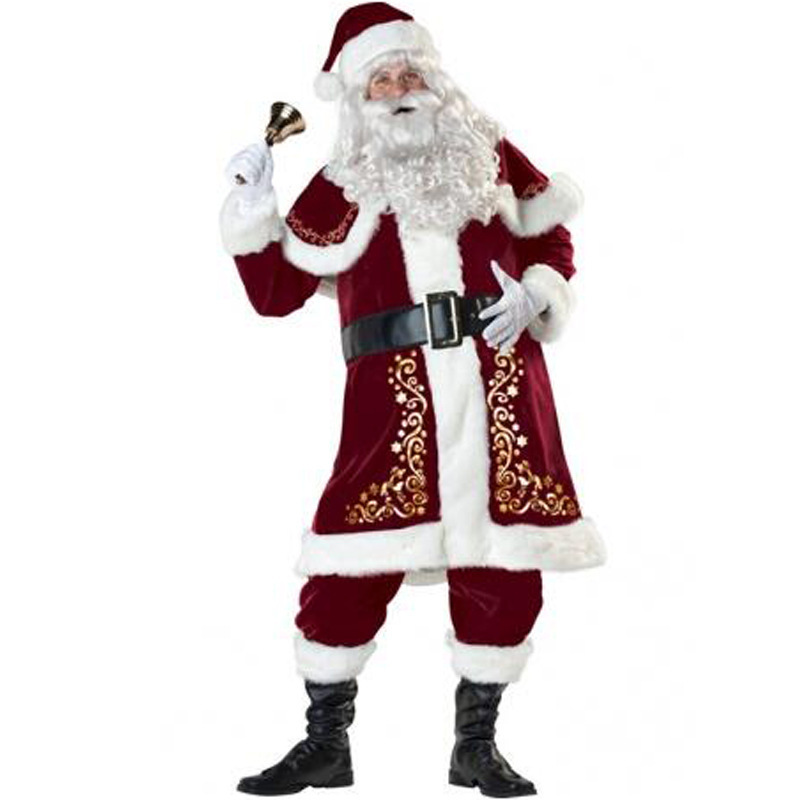 Adult Men's Deluxe Santa Claus Costume Velvet Christmas XMAS Cosplay Fancy Dress Beard and Wig