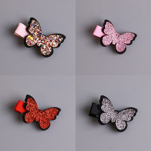 1pcs New Cute Baby Girls Hair Accessories Sequins Heart Butterfly Barrettes Glitter Stars Clip Pin Kids Children Hairpin(China)