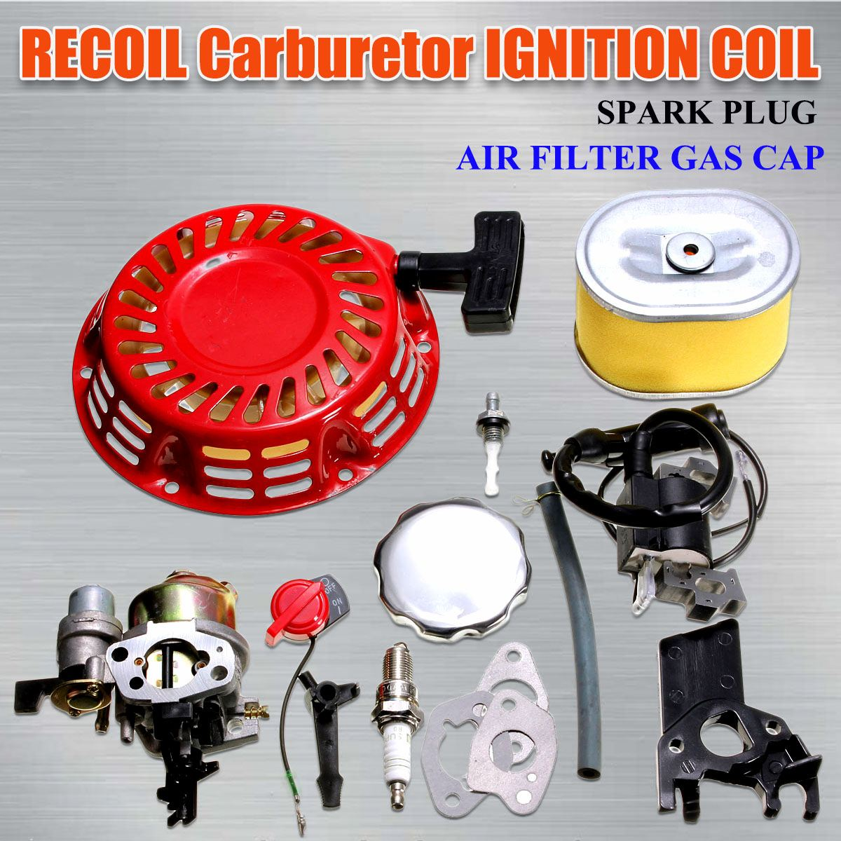 Karbüratör geri tepme marş ateşleme bobini buji için filtre için karbüratör Carb Honda GX160 5.5HP motor kiti