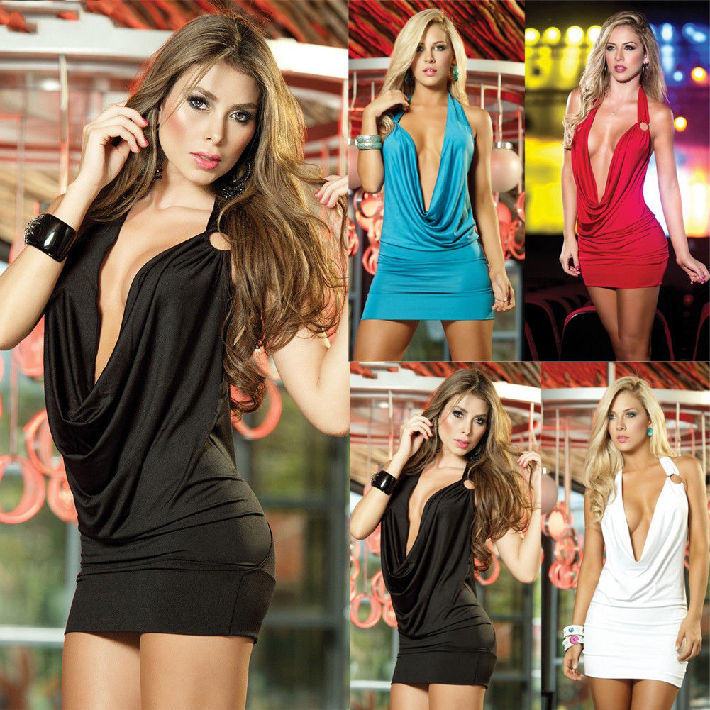 <font><b>Sexy</b></font> Women Deep V-Neck <font><b>Bandage</b></font> Sleeveless Hole Bodycon Halter Evening Party Club Mini <font><b>Dress</b></font> image