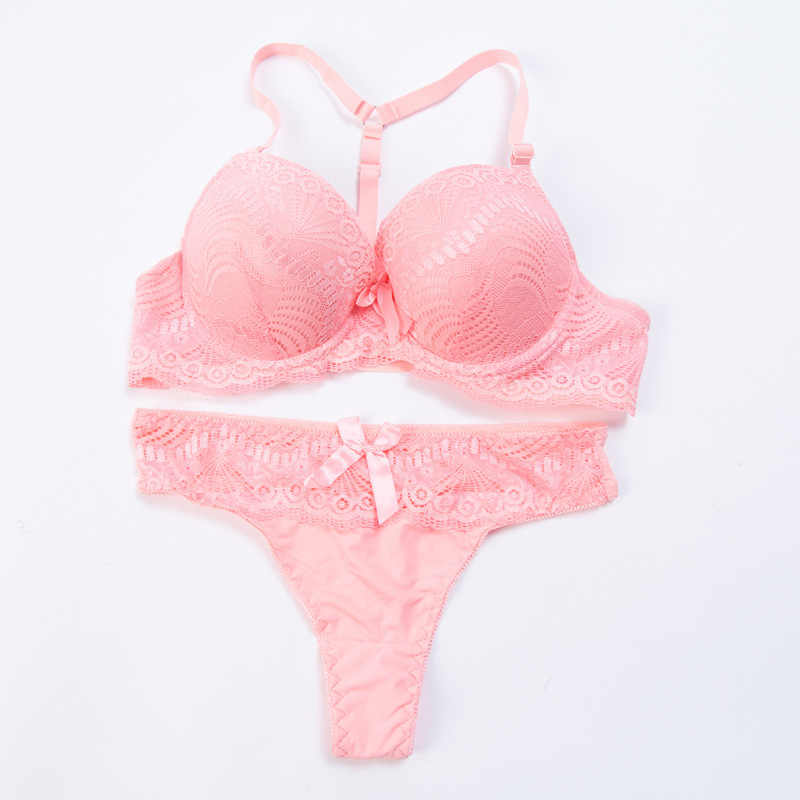 3db4d9f554 ... Sexy thick cup bra set pure color AB cup foreign trade underwear  manufacturers sale ...