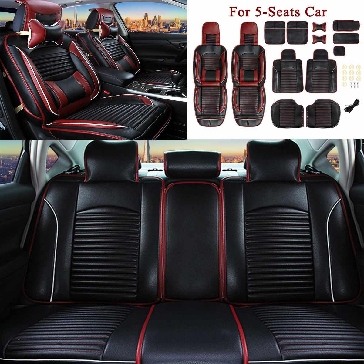 Для 5 сидений автомобиля роскошный черный из искусственной кожи полный объемный автомобильный чехол для сиденья Подушка передний задний на