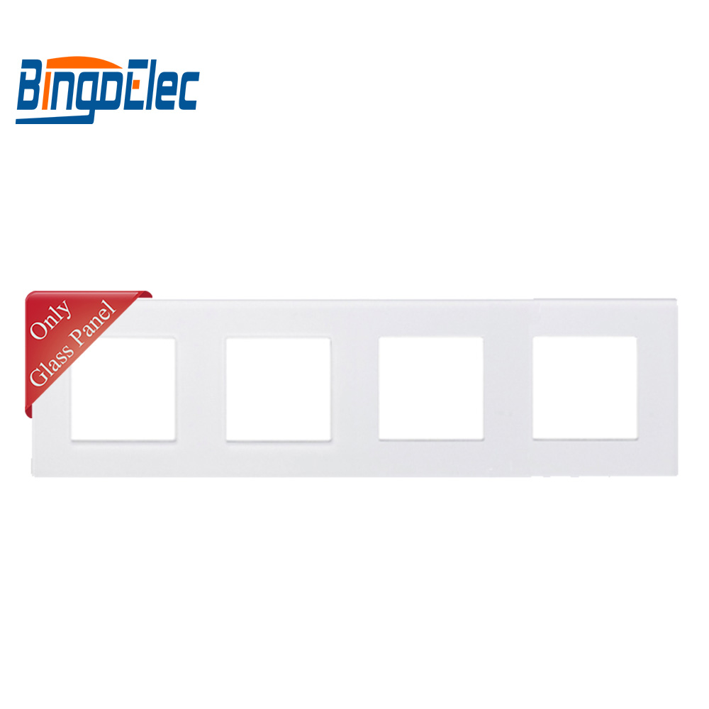 Three Color Four Socket Frame,crystal Toughened Glass Frame,86*299mm,