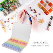 56 Сетки Коробка ювелирных изделий Кристалл бриллиантовой вышивки бисером ящик-органайзер для хранения
