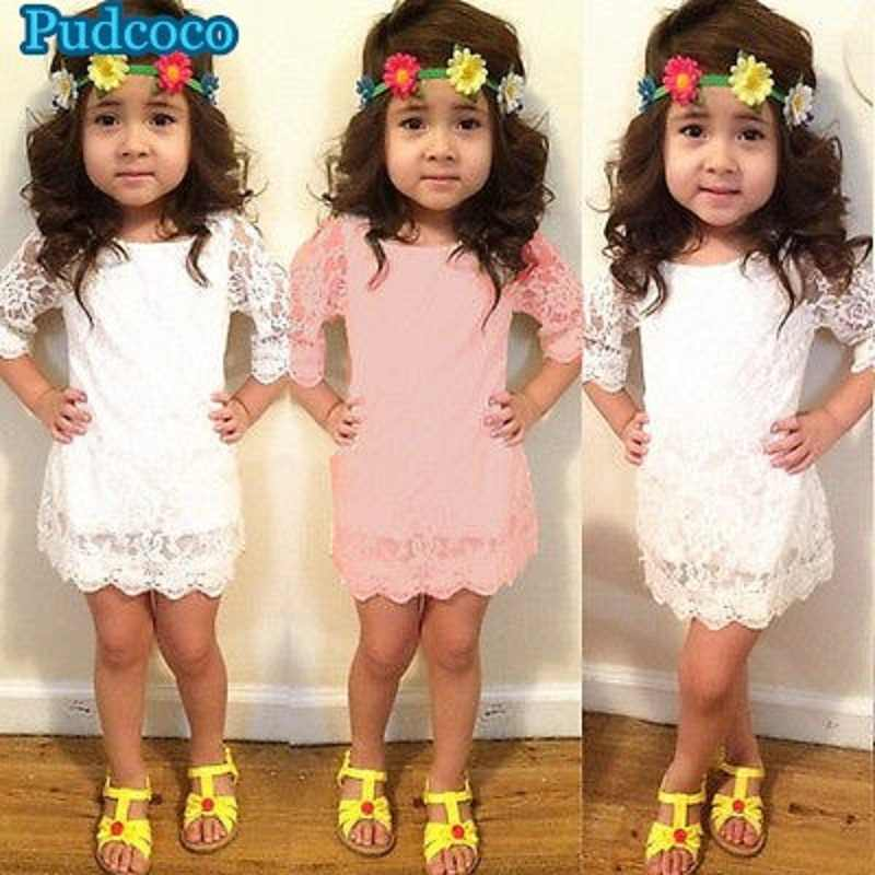 Pudcoco 2019 Brand New Baby Girls Kids Princess Long Sleeve Flower Party Tutu Lace Dress