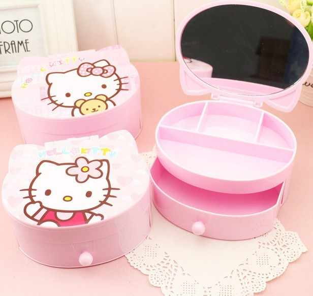 Hello Kitty Jewelry Box Cosmetic Organizer Plastic Drawers KT Cat Trinket Makeup Storage Box Table with Mirror Bead Storage Bin