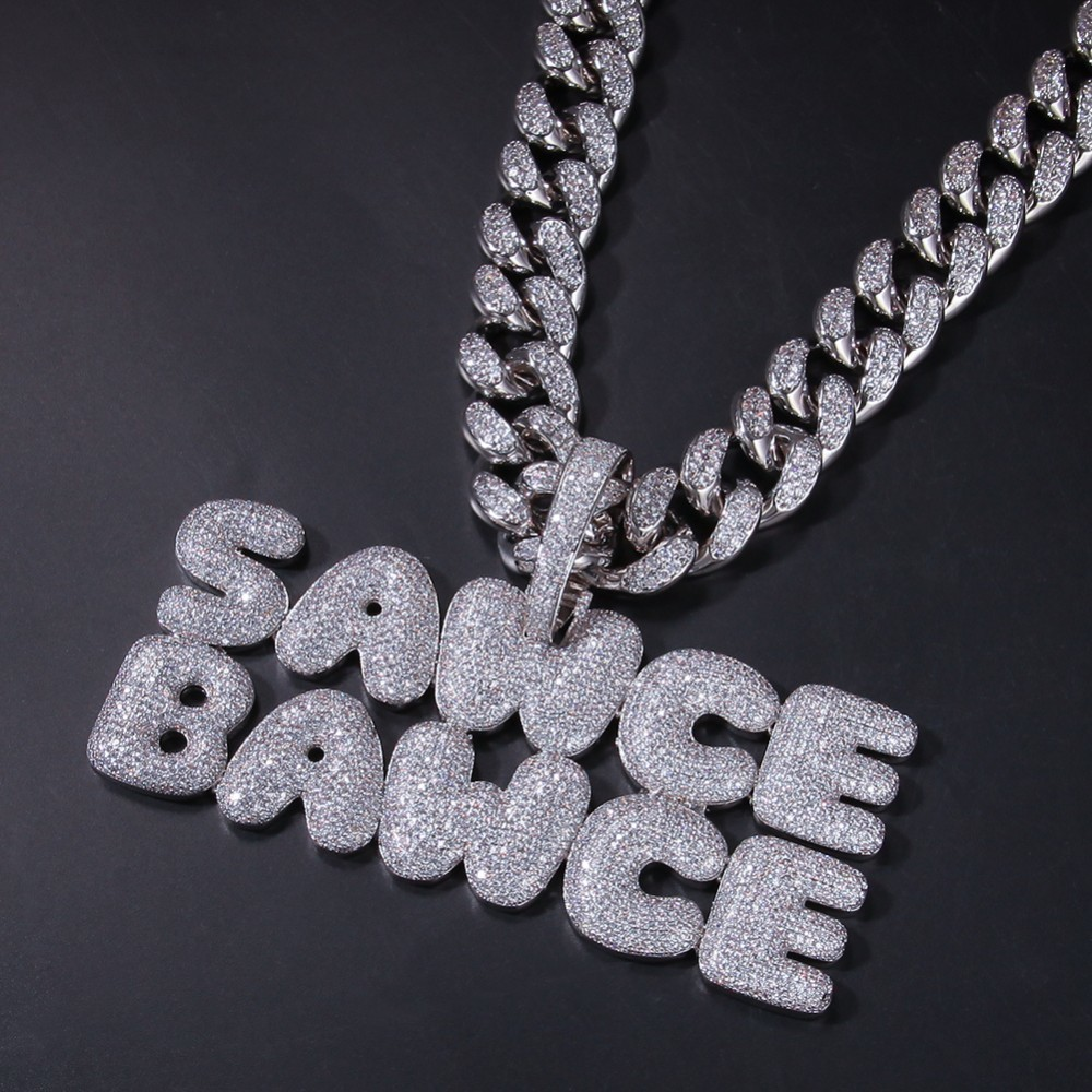 Image 5 - UWIN Big Clasp Custom Bubble Name Letters With 20mm Cuban Link Chain Iced Cubic Zirconia Fashion Jewelry Pendant NecklacesChain Necklaces   -