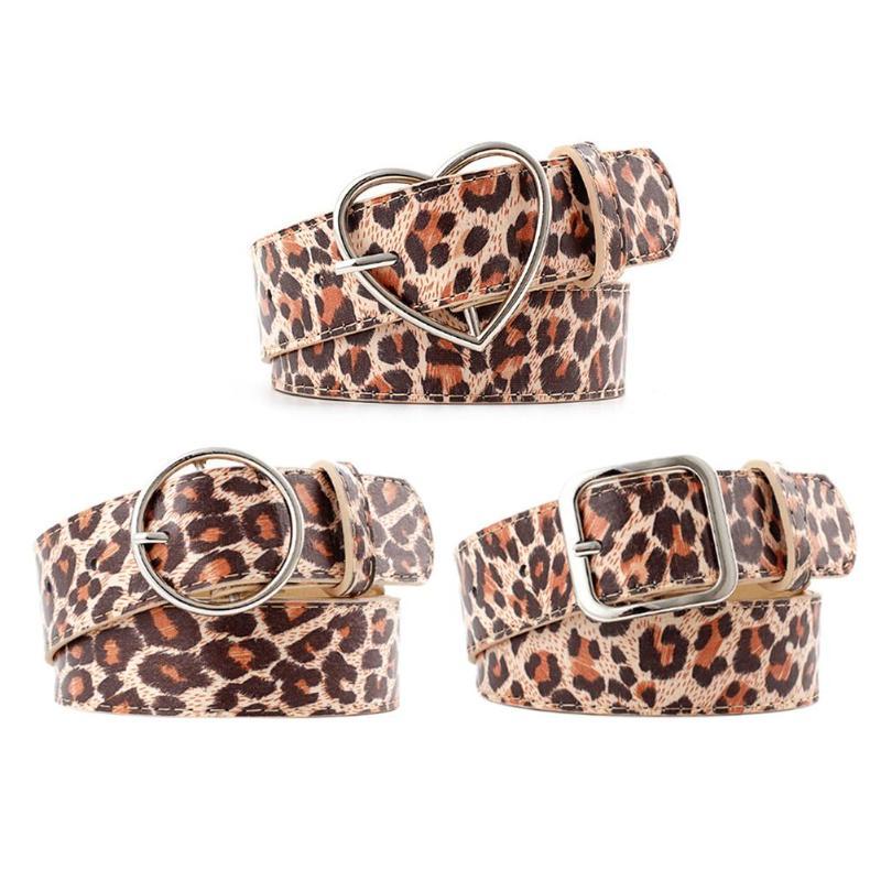 New Leopard Print Women Waistband PU Leather Fashion Metal Heart Pin Buckle   Belt   Female Casual Waist   Belts   Decor for Pants Dress