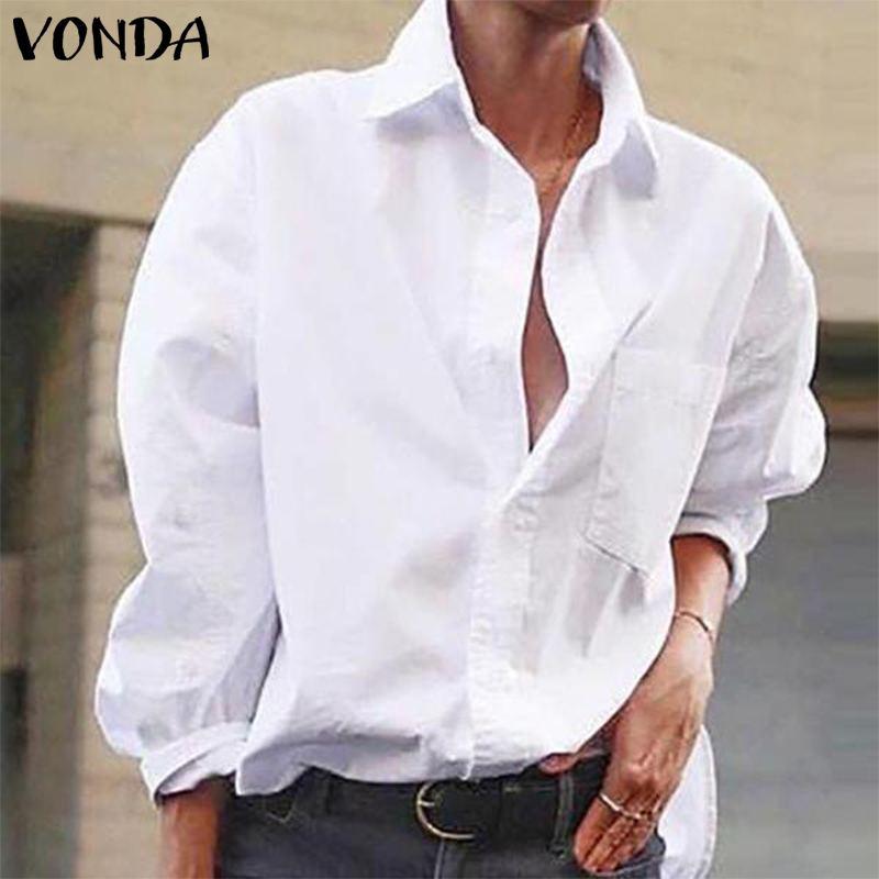 VONDA Womens Blouses Shirts 2019 Autumn Sexy Lapel Neck Long Sleeve Cotton Tops Casual Loose Blusas Femininas Black White