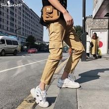 High Street 2019 Korean Style Summer Dance Track Loose Pants Men Harem Trousers Mens Hip Pop Streetwear Big Pocket Cargo