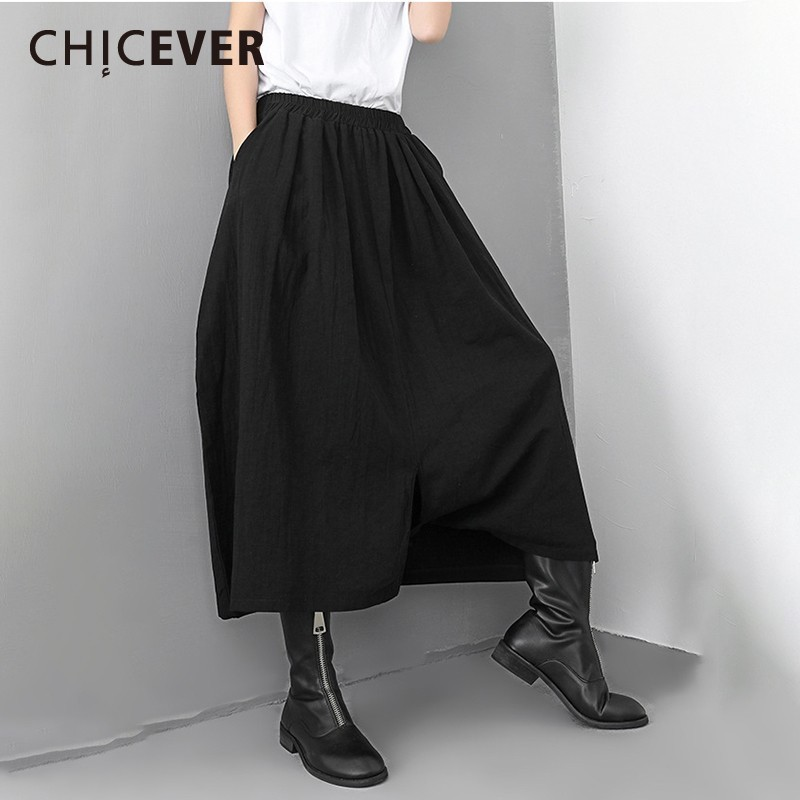 CHICEVER Spring Women   Pant   Elastic Waist Pockets Mid Loose Oversize Female Pleated Ankle-length   Wide     Leg     Pants   2019 Fashion New