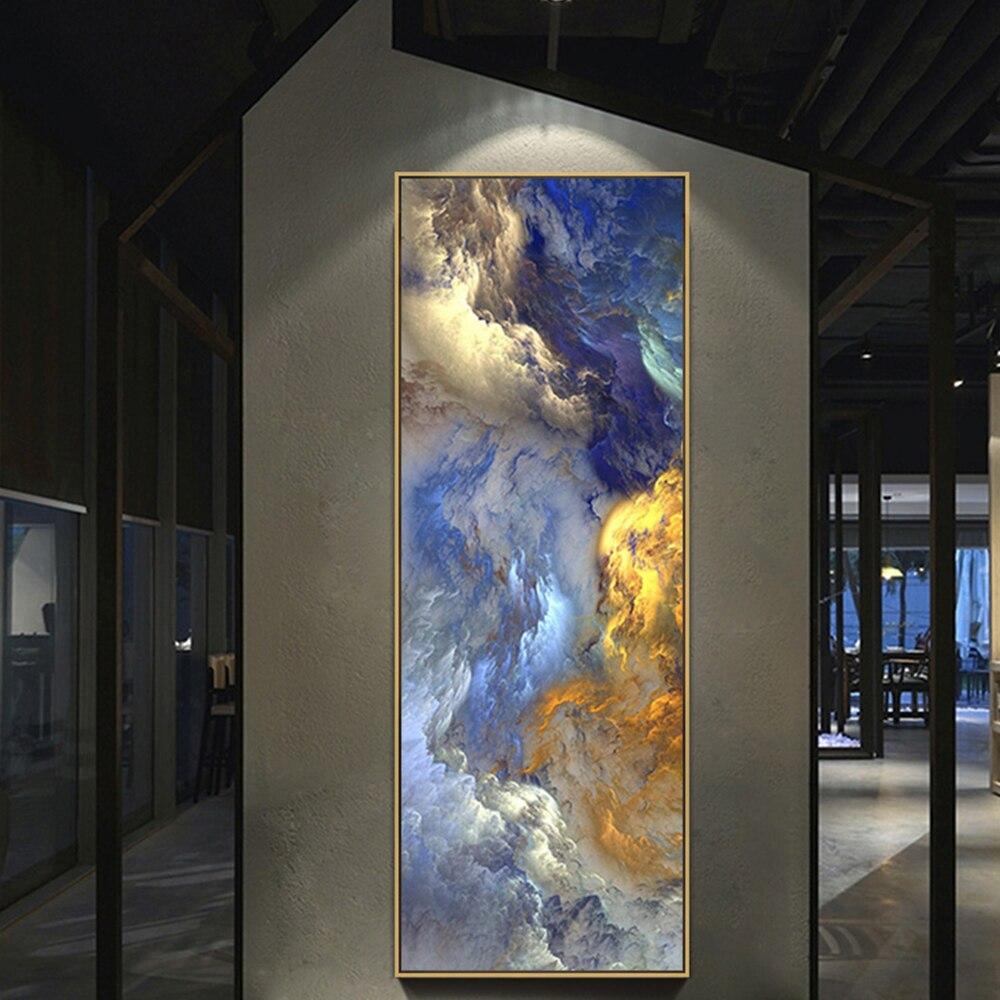 WANGART абстрактные цвета, нереальный холст, постер, синий пейзаж, настенная живопись, гостиная, Настенное подвесное современное искусство, при...