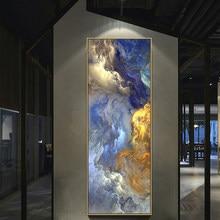 WANGART Cores Unreal Cartaz Da Lona Azul Pintura de Paisagem Da Arte Da Parede Abstrato Sala Tapeçaria Arte Moderna de Impressão Pintado