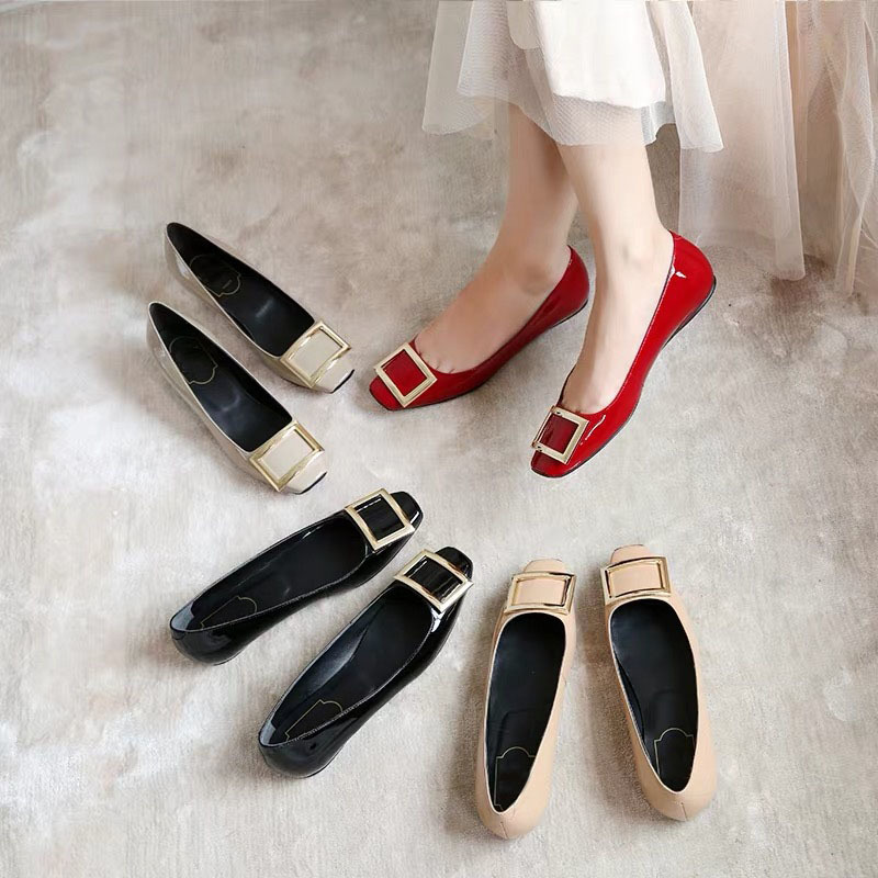 Confortables Véritable yellow Top Ballerines gray nude Chaussures 34 red green En black2 Carré Bout caramel brown Classique Cuir Appartements Black Qualité Taille Mode Femmes apricot Dames 40 FEp7Oqw