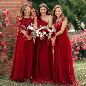 Image 5 - Plus Size Burgundy Chiffon Bridesmaid Dresses Long Ever Pretty EP08237 A Line Sleeveless Elegant Formal Wedding Guest Gowns 2020