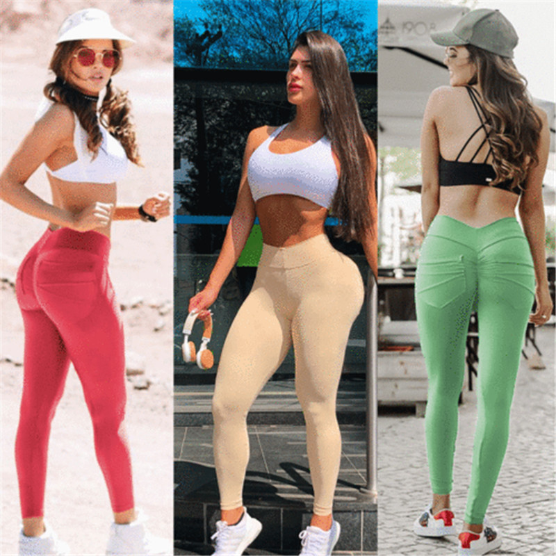 Popular Solid Causal Skinny Women Ladies Fashion Pencil Pleated Full Length Leggings Hight Waist Casual   Pants     Capris   Trousers