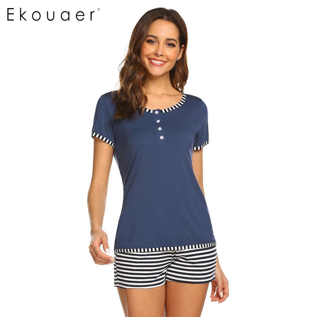 Ekouaer Women Summer   Pajamas     Set   Short Sleepwear Round Neck Short Sleeve Elastic Waist Striped Shorts   Pajama   Nightwear   Set