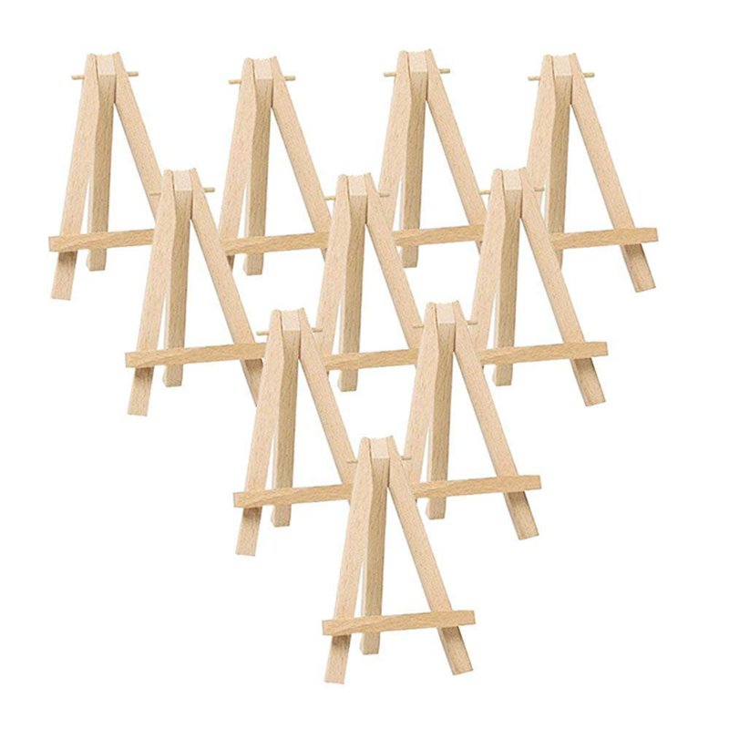 10Pcs Mini Wooden Artist Easel-Triangle Wedding Table Stand Display Holder - 15 X 8 Cm