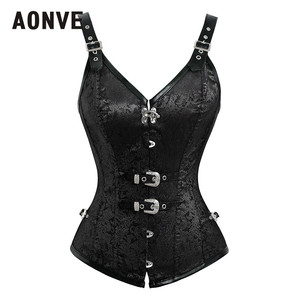 Image 3 - Aonve Sexy Gothic Corset Women Red Black Goth Bustiers Overbust Vintage Sexi Korse Vest Top Femme Burlesque Costume S 2XL