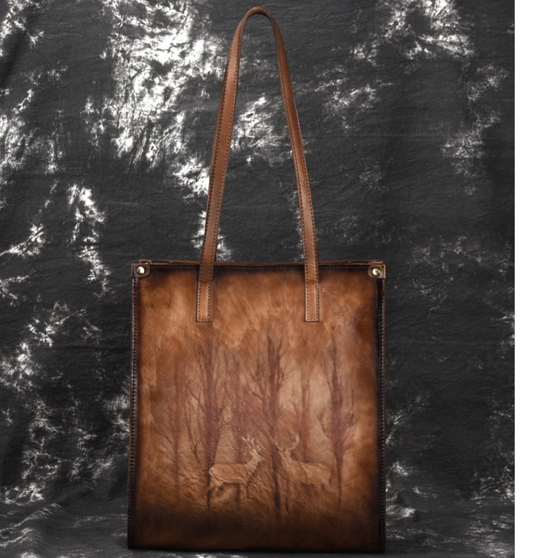 Real Cowhide Women Tote Bag Vintage Ladies Bags Deer/Floral Pattern Travel Large Capacity Genuine Leather Shopping HandbagReal Cowhide Women Tote Bag Vintage Ladies Bags Deer/Floral Pattern Travel Large Capacity Genuine Leather Shopping Handbag