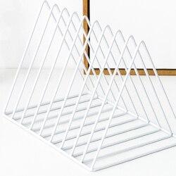 Triângulo arquivo organizador fio coleção 9 seção desktop rack de armazenamento ferro estante revista titular para escritório decoração casa