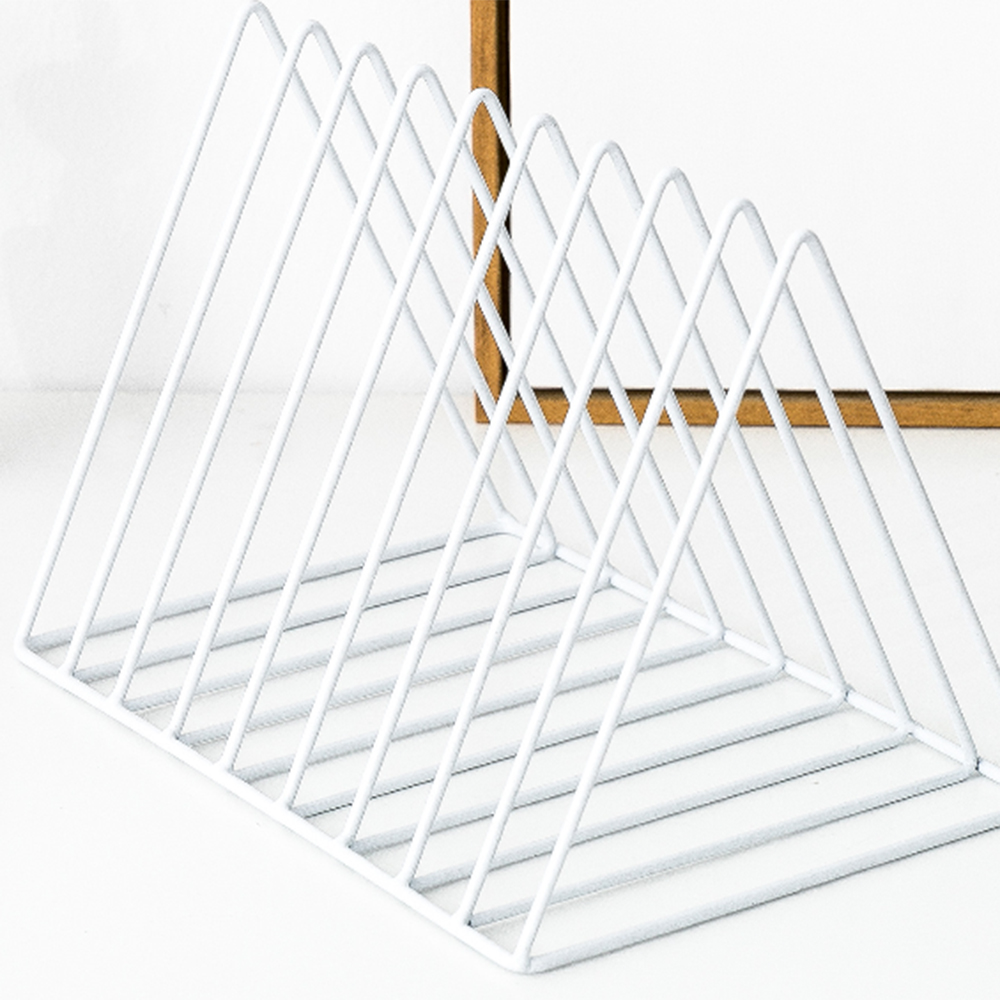 Triangle File Organizer Wire Collection 9 Section Desktop Iron Storage Rack Bookshelf Magazine Holder For Office Home Decoration