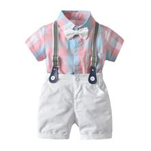 цена на VTOM Summer  Baby Boys Clothing Sets Short Sleeve Bow Tie Plaid Rompers+Suspenders Shorts Pants Formal Gentleman Suits