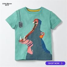 2019 Little Maven Brand Summer 2-7 years baby Kids Boys Cartoon hippo eatting cotton Top Quality Cotton t-shirts Tops shirt