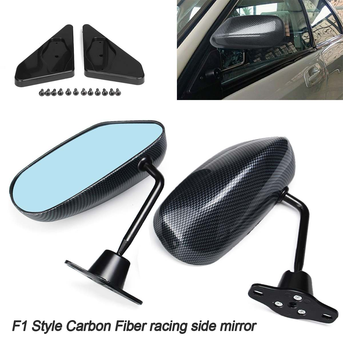 Carbon F1 Style Side Blue Lens Mirror Metal Bracket For Universal Civic sti evo