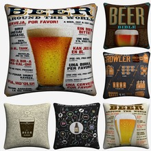 How To Order A Beer Vintage Chart Decorative Cotton Linen Cushion Cover 45x45 cm For Sofa Chair Pillowcase Home Decor Almofada