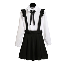 2019 spring new institute wind bows shirt pleated shoulder-straps two-piece outfit women vestido Korean fashion