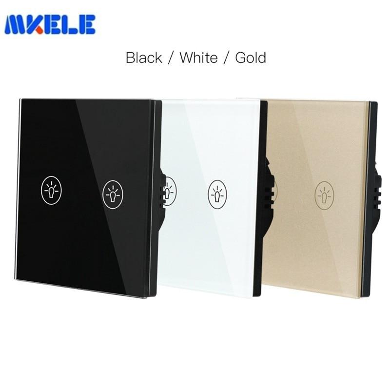 Crystal Glass Panel Switch 2 Gang 1 Manier Waterdichte Touch Control EU/UK Standaard Muur Touch Schakelaar Muur Lichtschakelaar