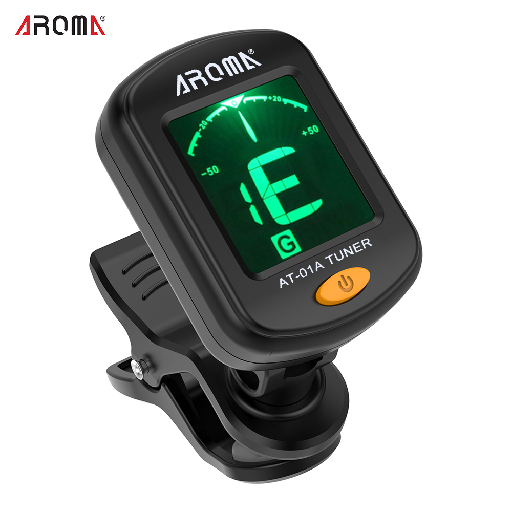 AROMA AT-01A Guitar Tuner Rotatable Clip-on Tuner Mini LCD Display for Chromatic Guitar Bass Ukulele Violin