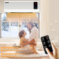 220V 50hz 2000W Household Waterproof Electric Heater Wall mounted Air HeaterBathroom wall heater over door + Remote control