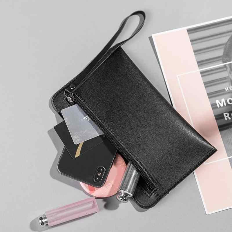 2019 Carteiras Magros das Mulheres Novo Ocasional Pequeno saco de Mão Simples bolsa De Couro Pu Mão Segurando a Bolsa Da Moeda Telefone Móvel Mini pacote