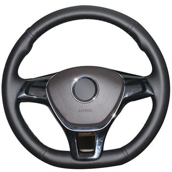 Black Natural Leather Car Steering Wheel Cover for Volkswagen VW Golf 7 Mk7 New Polo Jetta Passat B8 Tiguan Sharan Touran Up