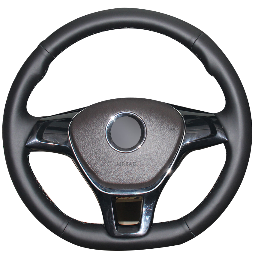 Housse de volant de voiture en cuir naturel noir pour Volkswagen VW Golf 7 Mk7 nouvelle Polo Jetta Passat B8 Tiguan Sharan Touran Up
