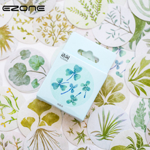 EZONE 50 PCS Green Plant Sticker Round Sealing Stationery Clover/Ginkgo Biloba/Lotus Leaf ShapeDIY Scrapbooking Decor
