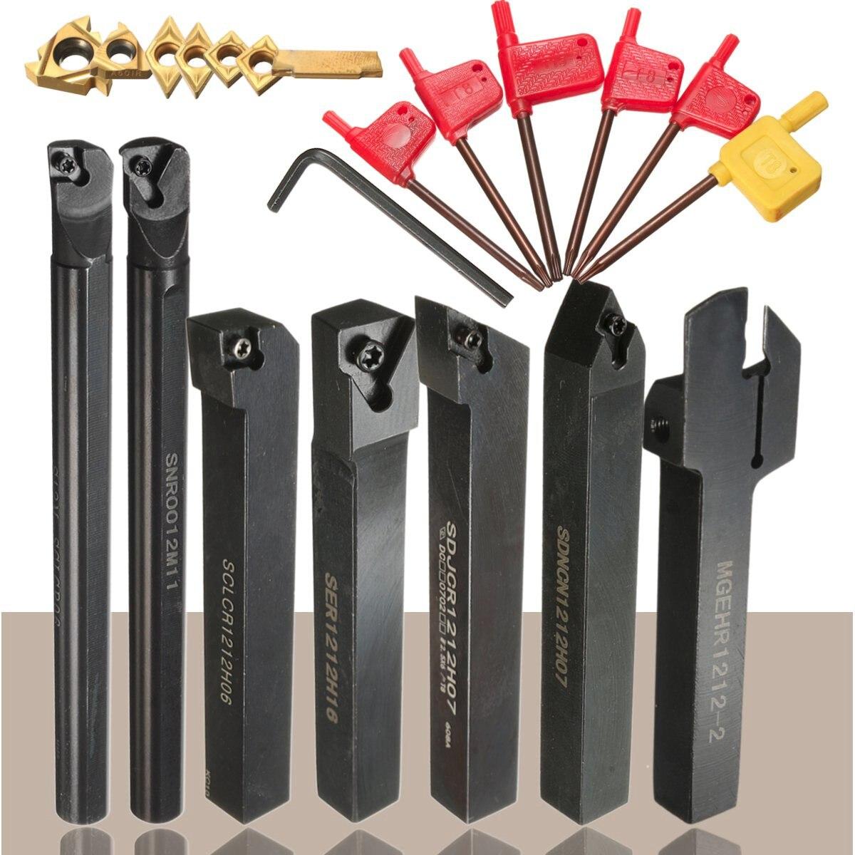 7pcs Turning Tool Holder Set 12mm Shank Lathe Boring Bar With Carbide Inserts + 7pcs Wrenches Tools Set7pcs Turning Tool Holder Set 12mm Shank Lathe Boring Bar With Carbide Inserts + 7pcs Wrenches Tools Set