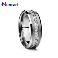 Hot Sale Finger Classic Ring Electroplated Sliver Inlaid Acacia Half Frosted Tungsten Ring Man's Wedding Fine Jewelry